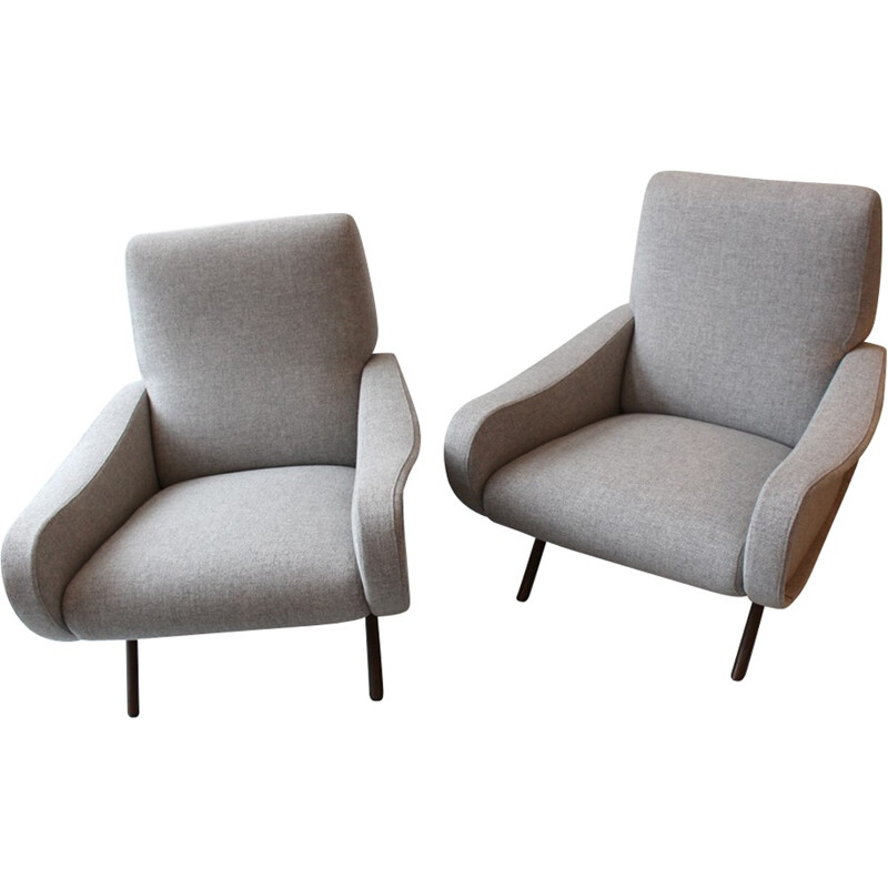 Pair of vintage armchairs in grey fabric by Marco Zanuso - 1950s