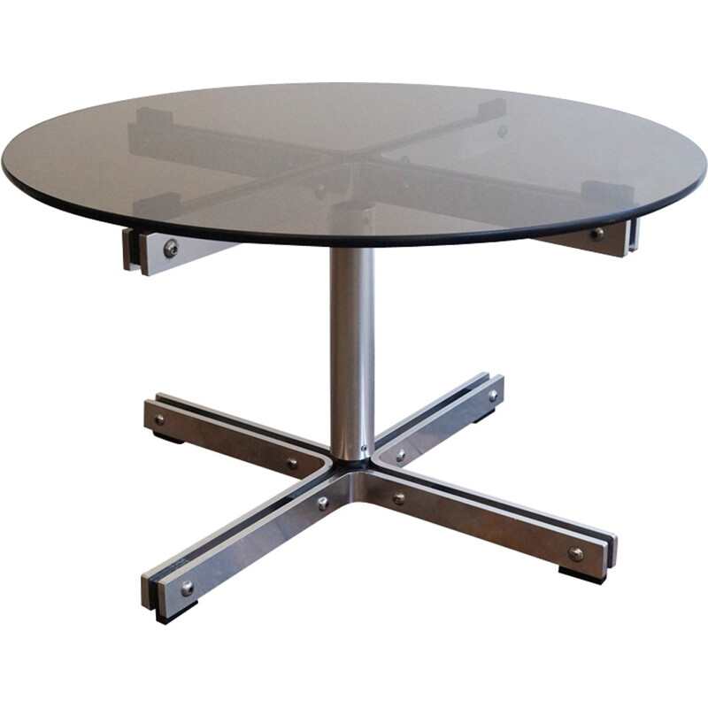 Vintage coffee table in steel and glass by William Plunkett - 1970s
