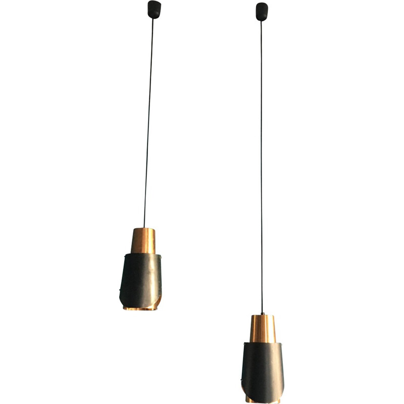"Pair of vintage ""Osterport"" hanging lamps by Bent Karlby for Lyfa - 1960s"