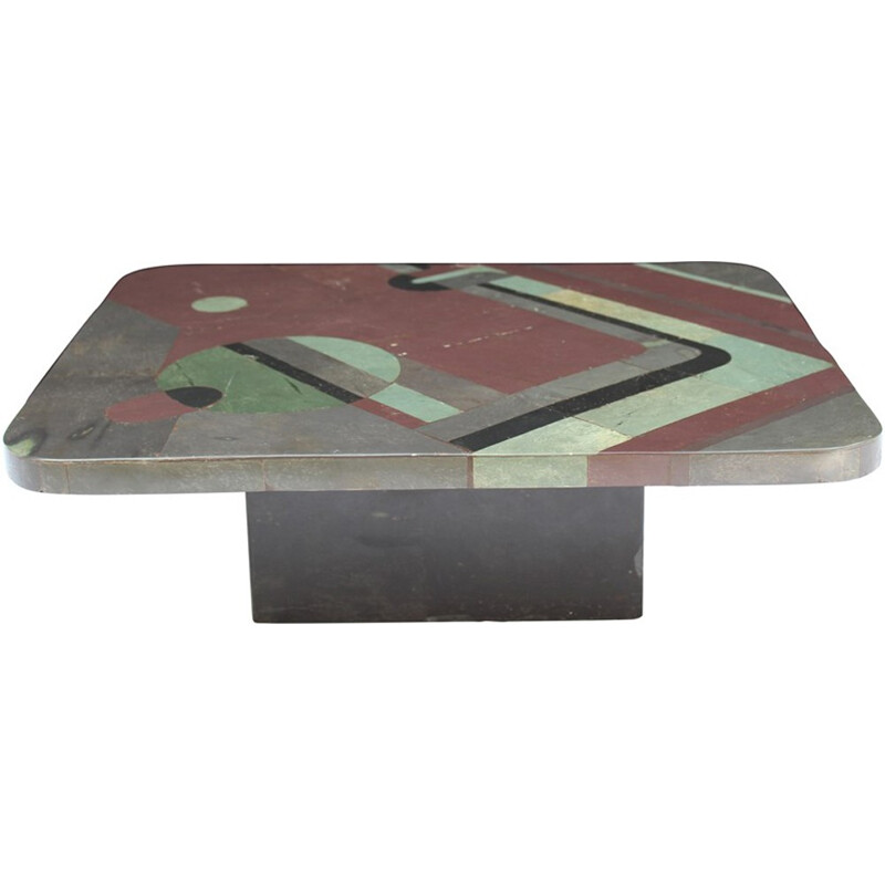 Multi-colored coffee table by Pierre Elie Gardette - 1980s
