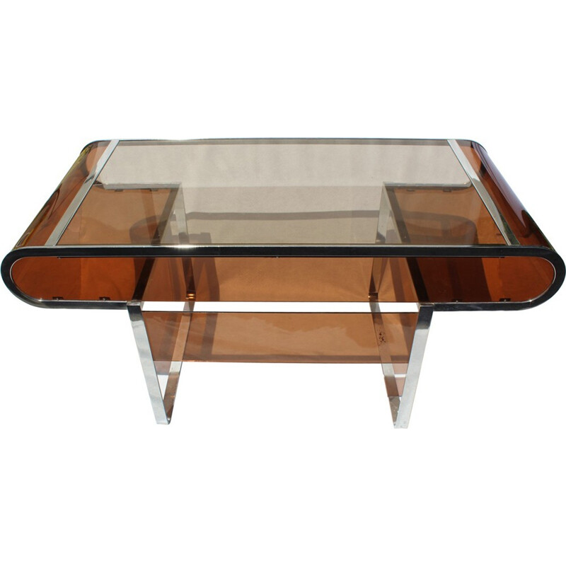 Vintage desk and its armchair in plexiglass - 1970s