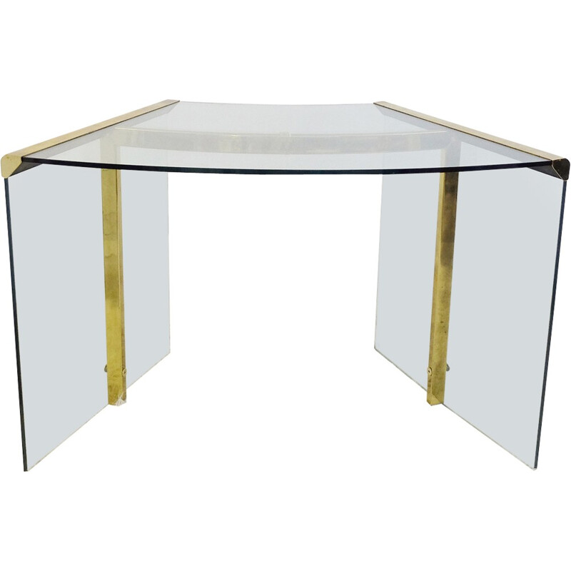 Vintage desk in glass by Gallotti and Radice - 1970s