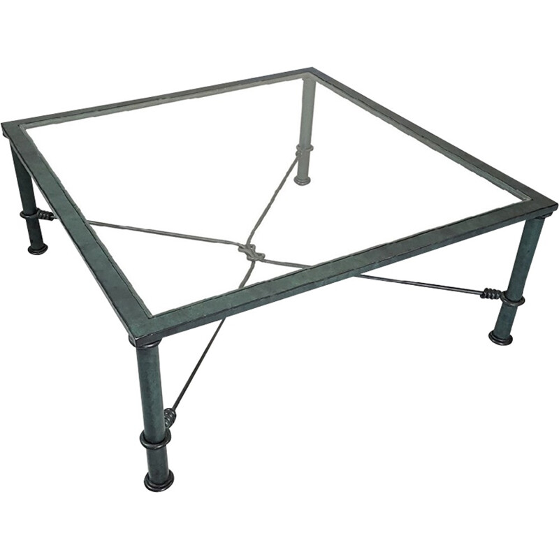 Italian vintage coffee table in glass and iron - 1970s