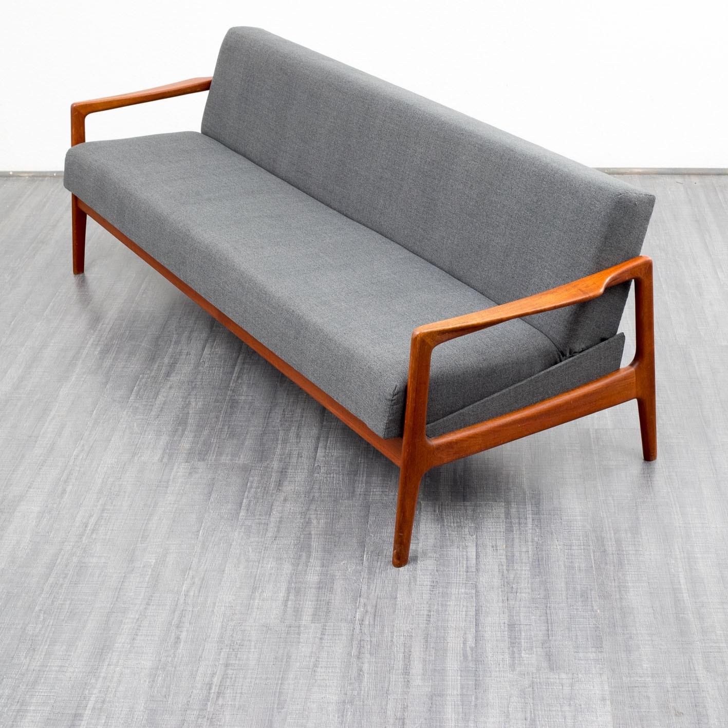 Scandinavian grey 3 seater sofa bed in teak   1960s ...