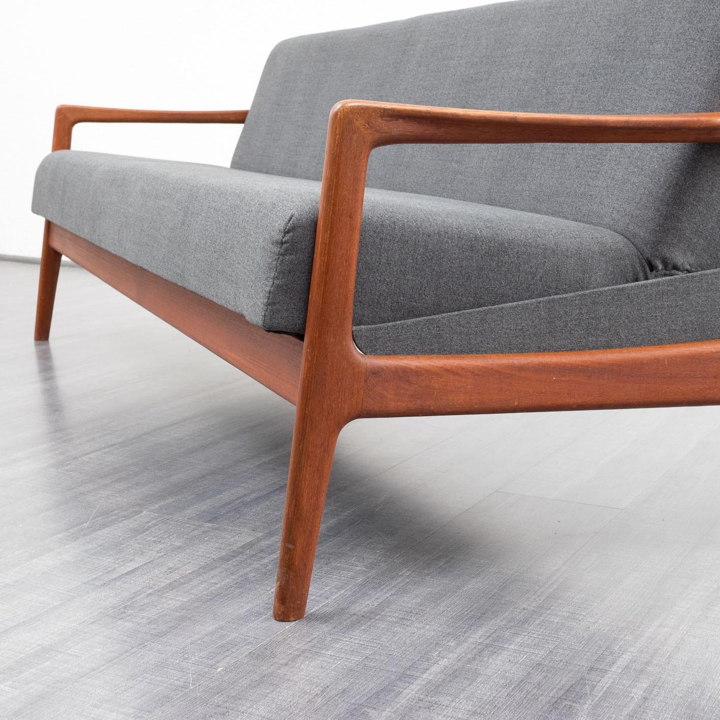 Scandinavian grey 3 seater sofa bed in teak - 1960s ...
