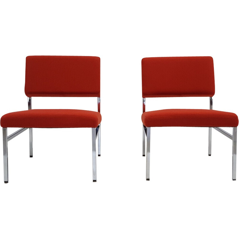 A pair of fabrics kvadrat and chromed low chairs - 1970