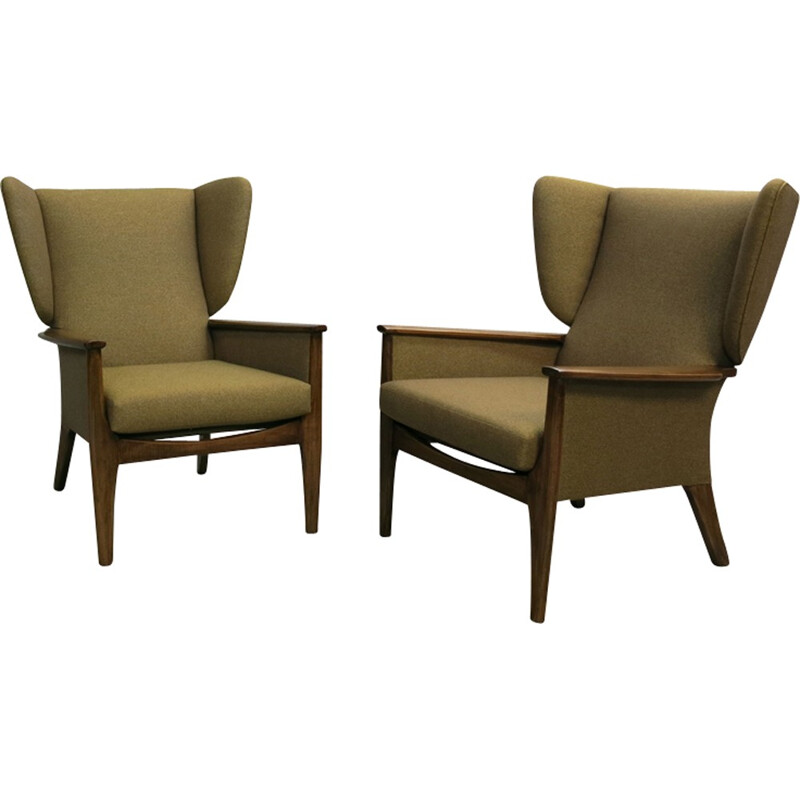 Pair of brown vintage wingback archairs Parker Knoll - 1960s