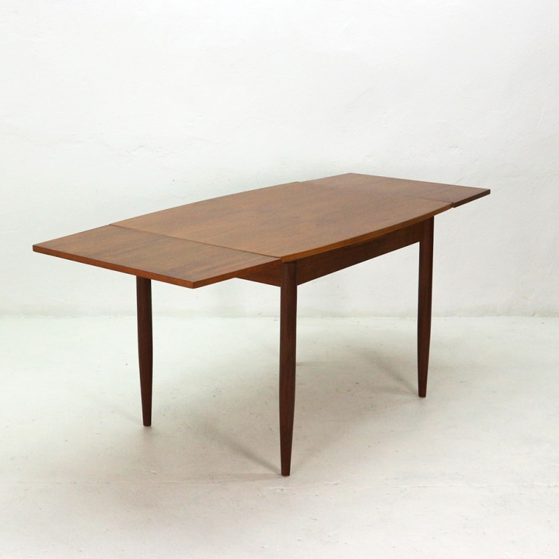 Vintage Teak Dining Table With Pull Out Leaves 1960s Design Furniture Previous