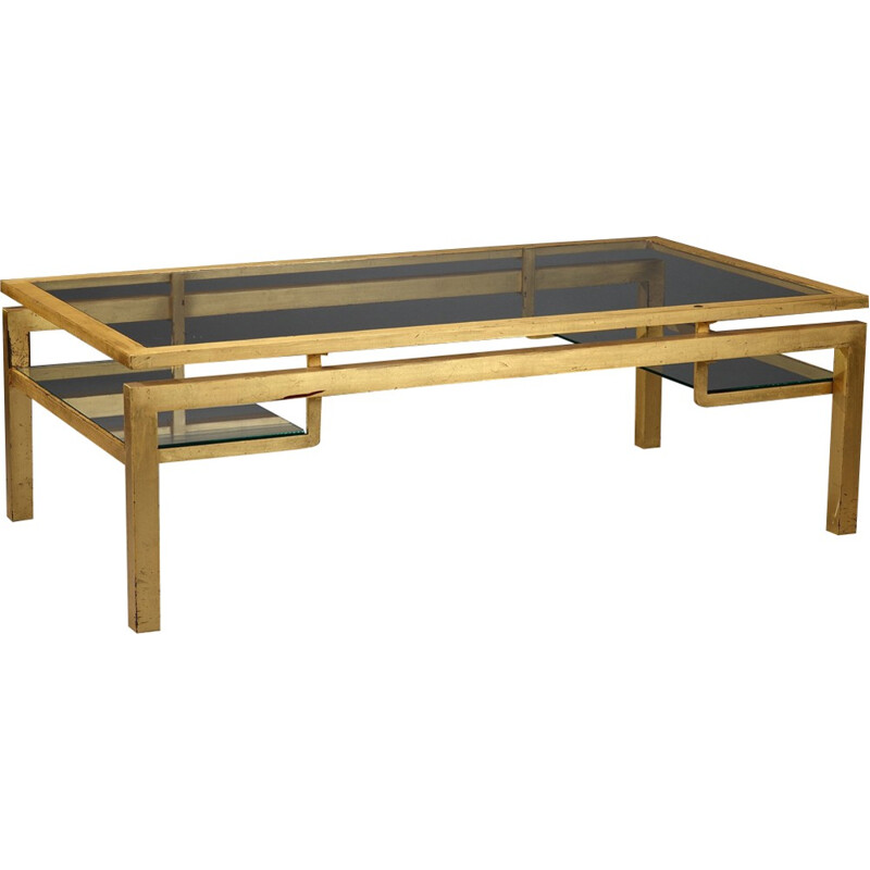 Coffee table in gilded metal and glass by Guy Lefèvre for Maison Jansen - 1970s