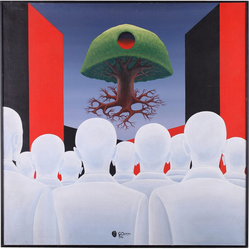 """Surrealist Composition """"The Tree in Levitation"""" by Gino Cocco - 1980s"""