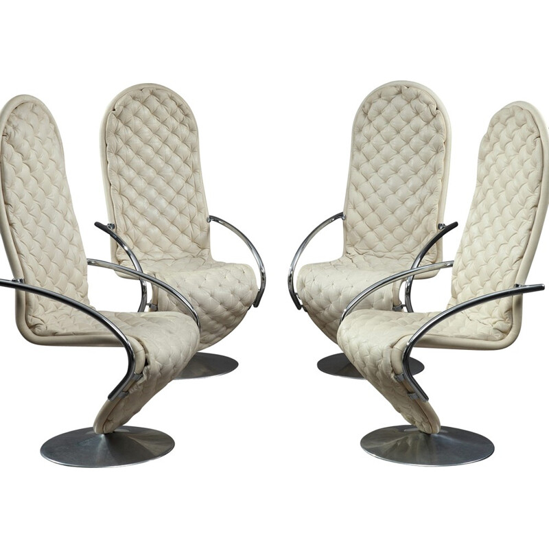 """Set of 4 """"1-2-3 System"""" armchairs by Verner Panton for Fritz Hansen - 1970s"""