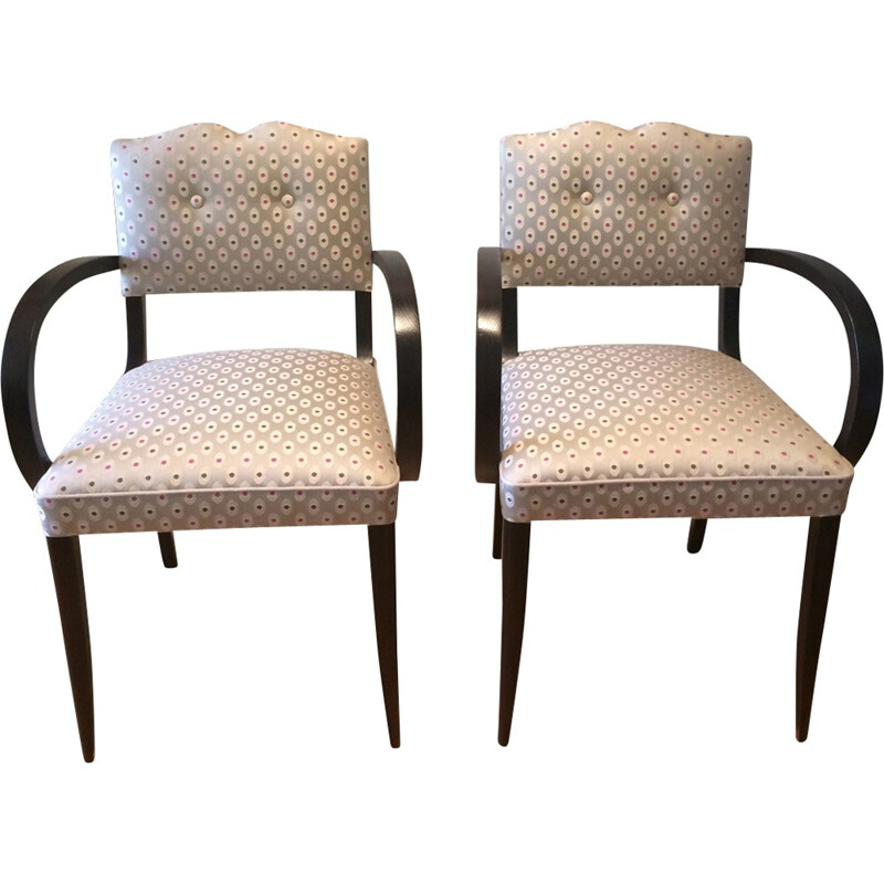 Pair of vintage renovated armchairs in wood and beige fabric - 1950s