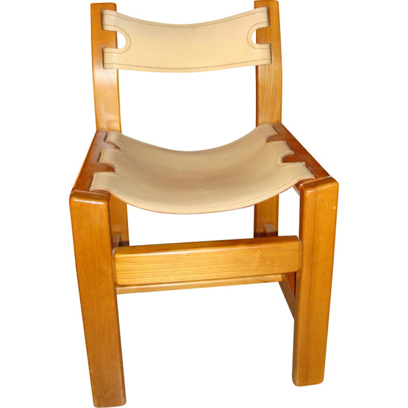 Set of 6 vintage leather and elm chairs - 1970s