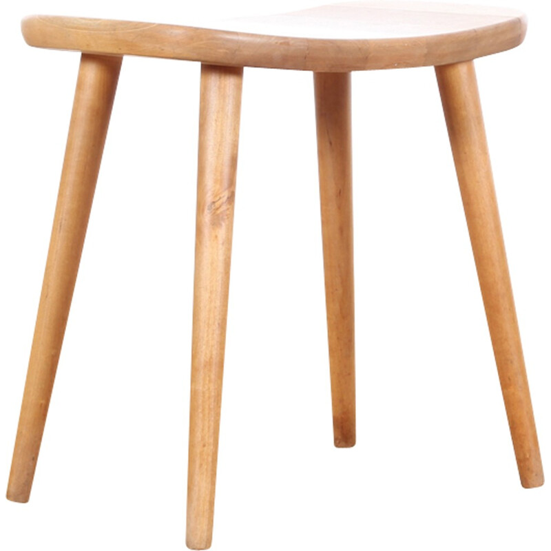 "Vintage stool in beechwood model ""Palle"" by Yngve Ekström - 1950s"