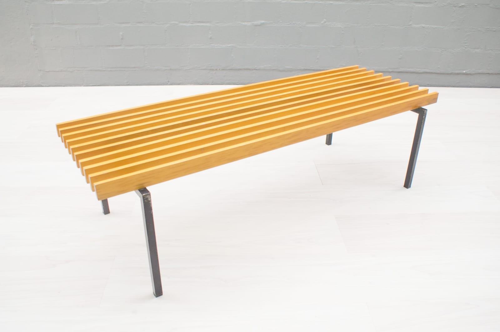 Vintage german bench on square tube metal frame - 1960s - Design Market