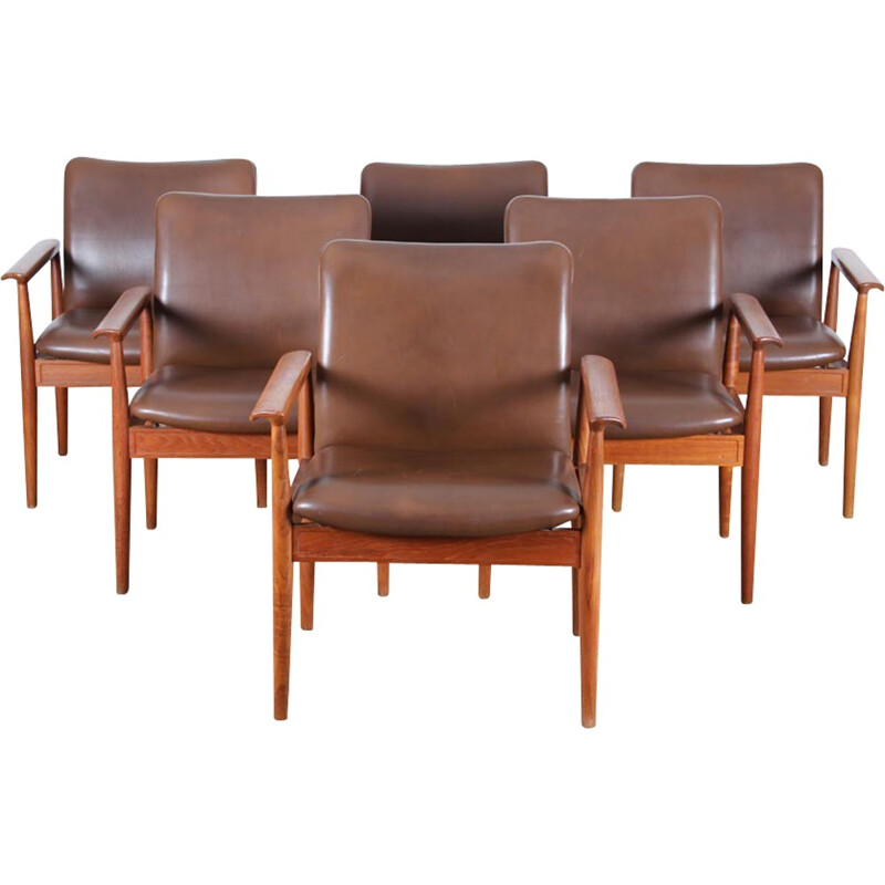 Set of 6 Diplomat teak armchairs by Finn Juhl - 1950s