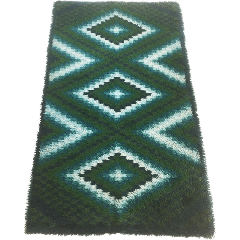 Scandinavian square pattern Rya Rug by EGE Taepper - 1960s