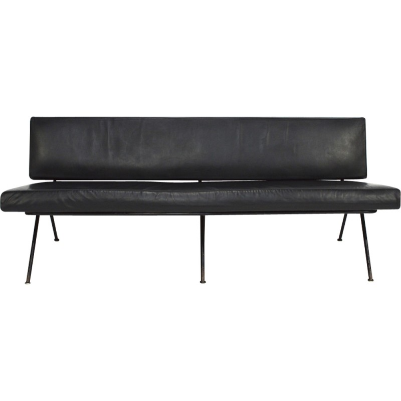Vintage model 32 black sofa by Florence Knoll - 1950s