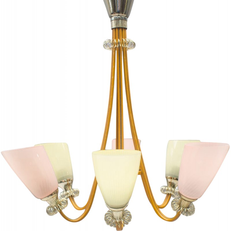 Vintage pastel-colored hanging lamp - 1950s