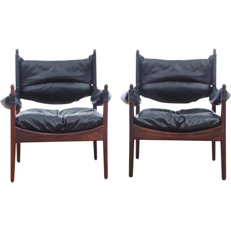 Charmant Pair Of Vintage Scandinavian Armchairs Made Of Rio Rosewood Modus Model By  Kristian Solmer Vedel   1960s
