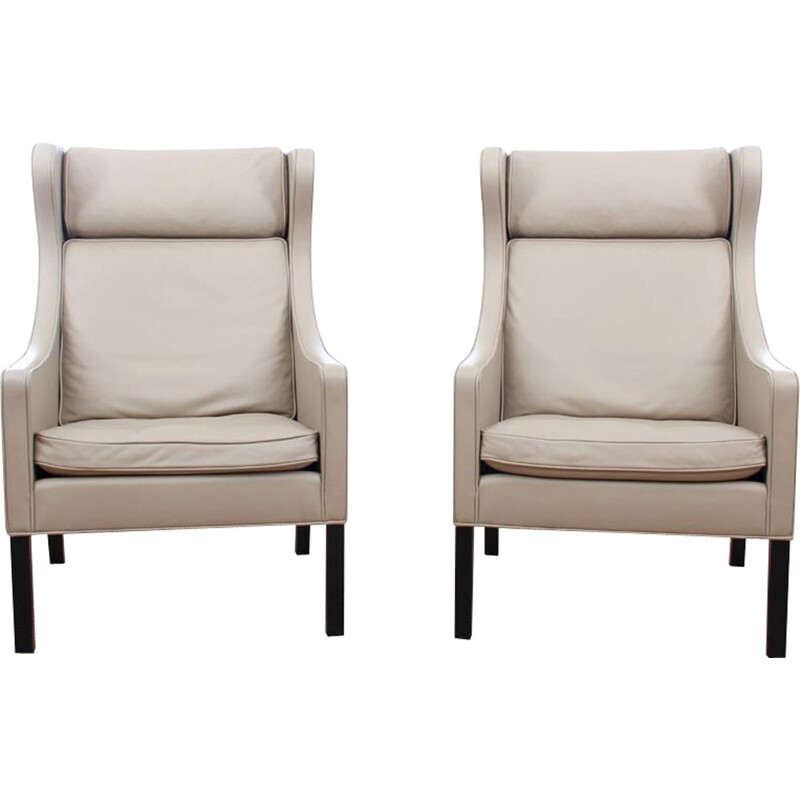 Pair of vintage Wing Chair 2204 by Borge Mogensen for Fredericia Furniture - 2000s