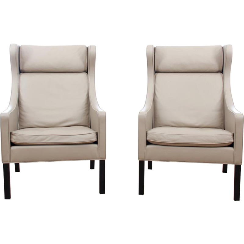 Pair Of Vintage Wing Chair 2204 By Borge Mogensen For Fredericia Furniture   .