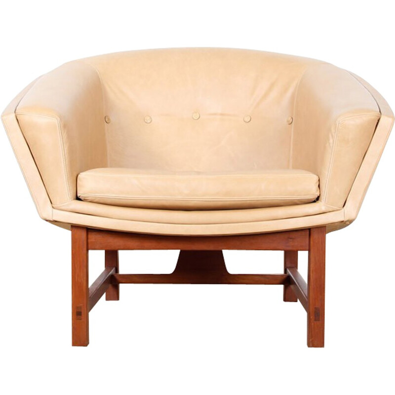 Scandinavian Corona leather armchair - 1950s