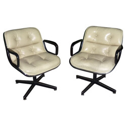 """Pair of """"Pollock"""" armchairs in leather, Charles POLLOCK - 1960s"""