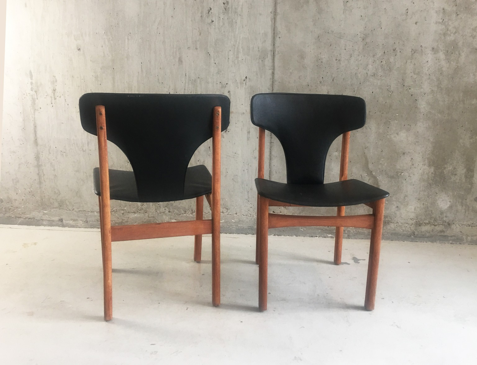 Vintage Danish Dining Chairs In Teak And Leatherette 1960s Previous Next