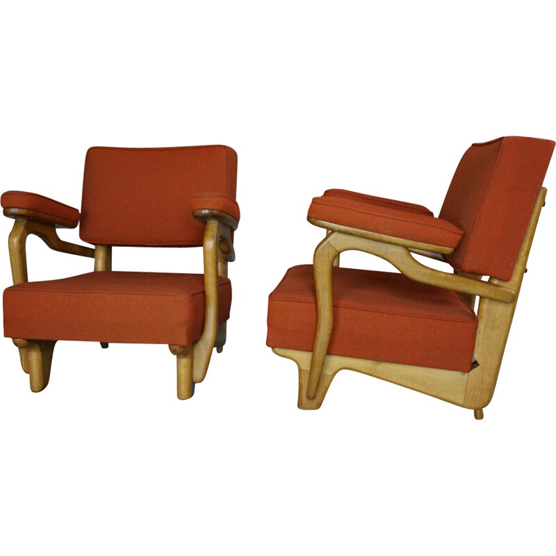 Pair of vintage armchairs in oakwood and wool by Guillerme and Chambron - 1950s