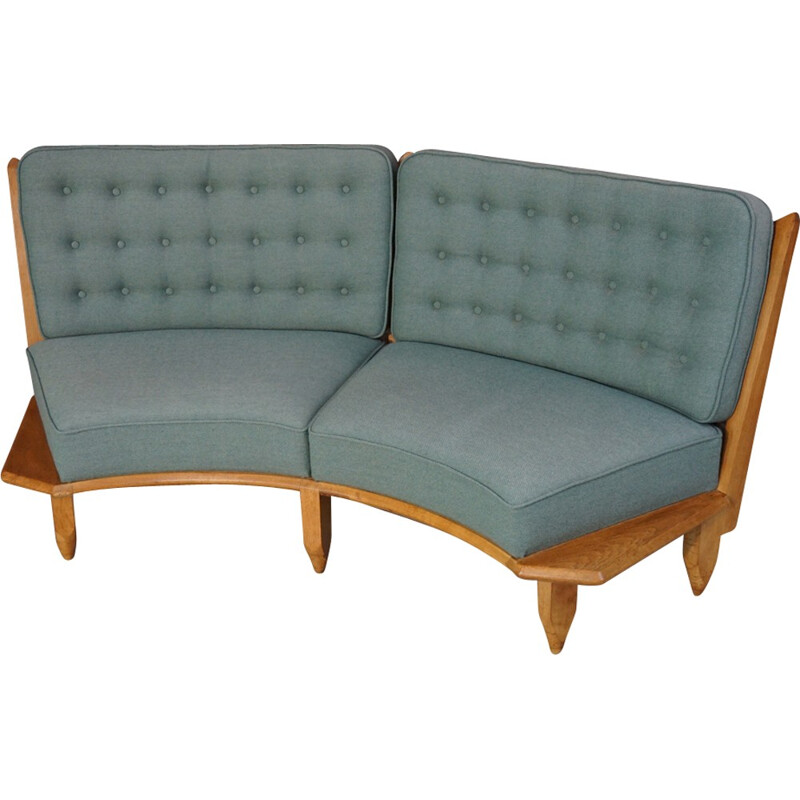Vintage sofa in oakwood and green fabric by Guillerme and Chambron - 1950s