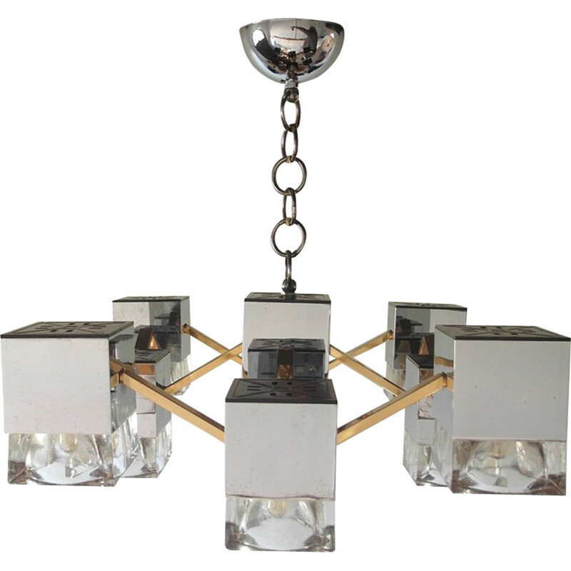 Vintage Chandelier with Glass Cubes and Brass by Sciolari - 1970s