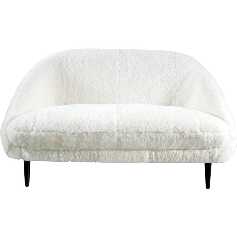 Vintage Sofa Model 115 in Sheepskin by Theo Ruth for Artifort - 1950s