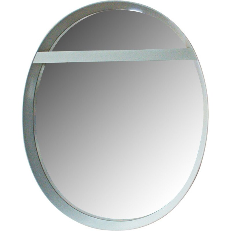 German oval mirror with white frame - 1970s