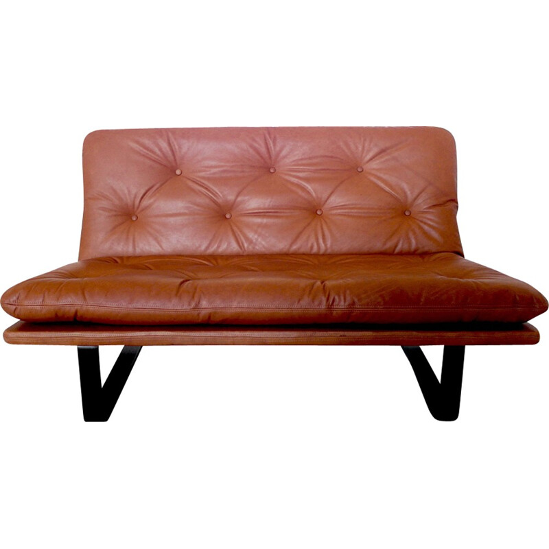 Daybed 'Loveseat' in cognac leather by Kho Liang Le for Artifort - 1960s