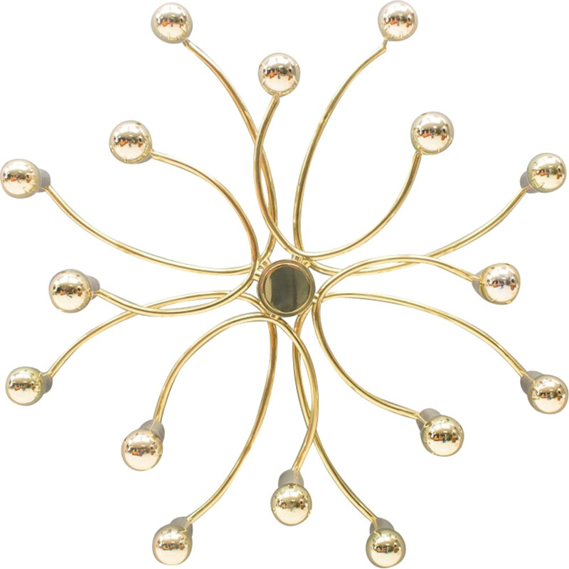 Vintage golden ceiling lamp with 18 lights - 1960
