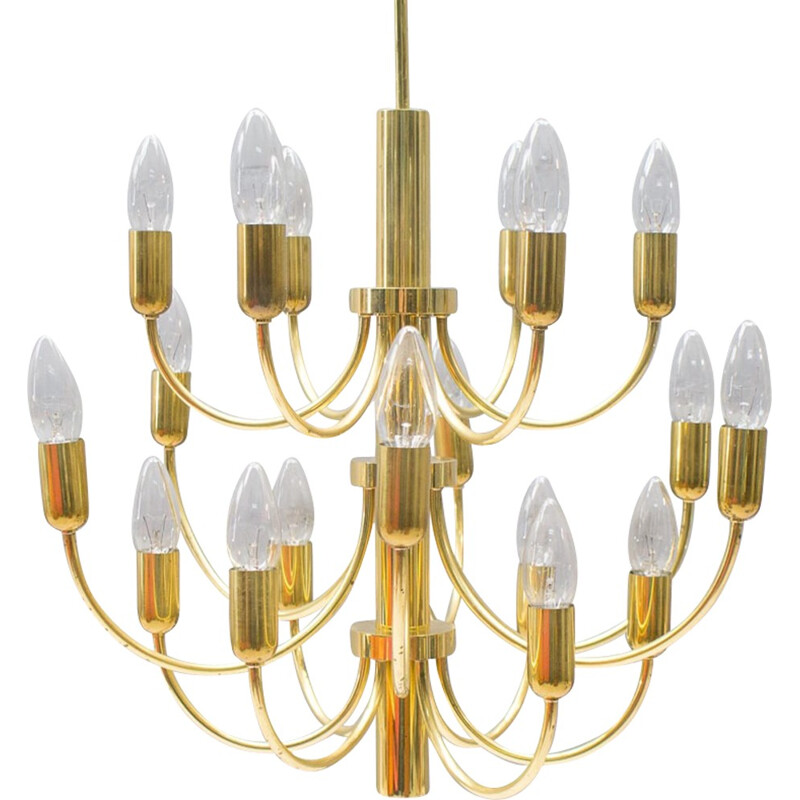 Vintage brass Hollywood Regency chandelier - 1960s