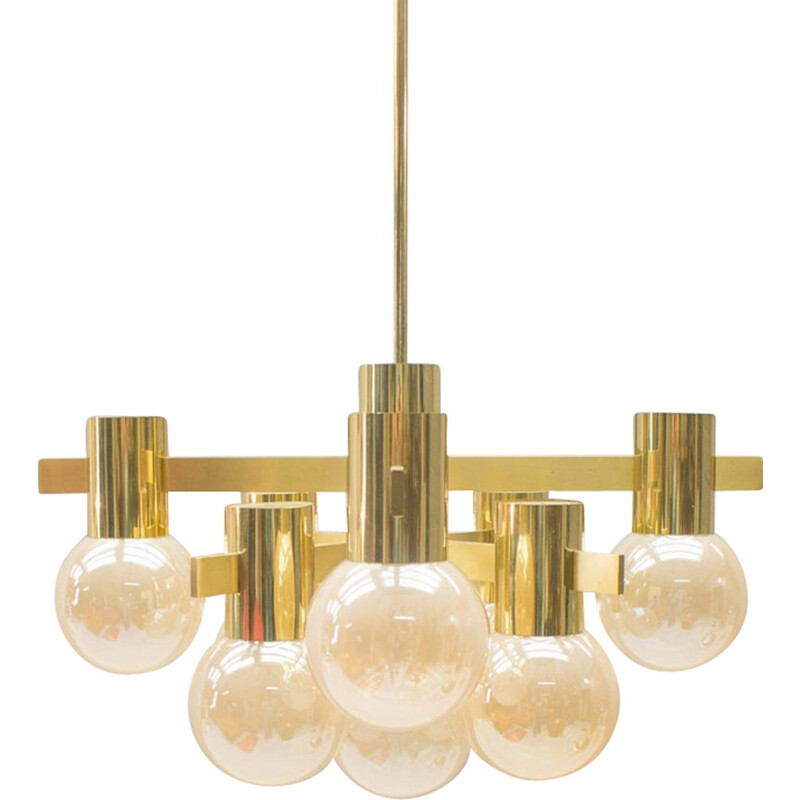 Brass and glass chandelier by Gaetano Sciolari - 1960s