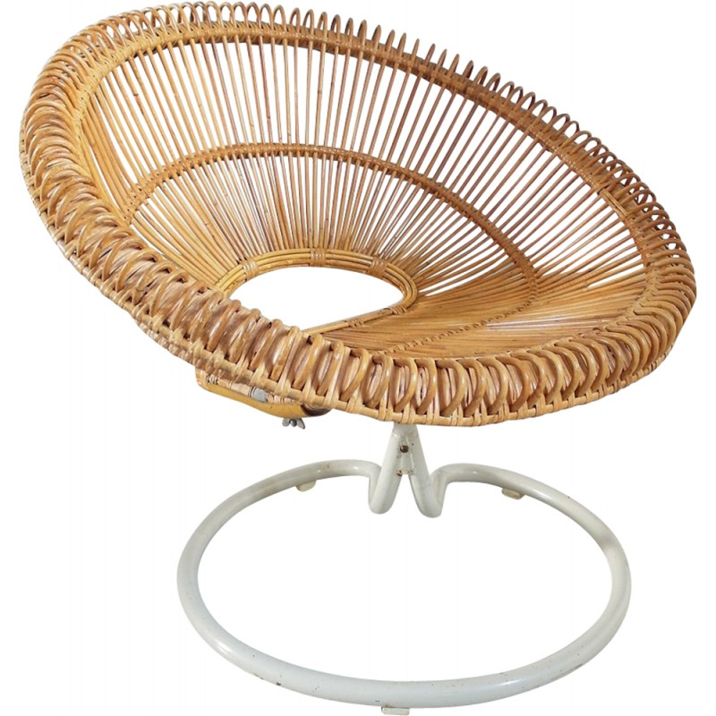 Rattan swivel chair by Janine Abraham, France - 1960s