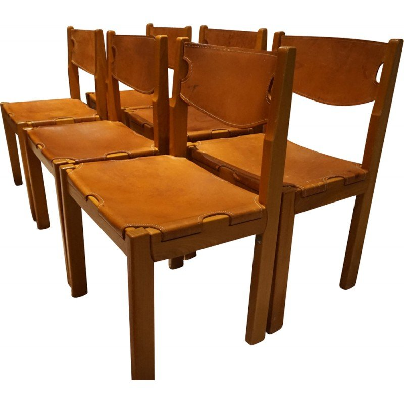 Set Of 6 Leather And Beechwood Chairs   1970s