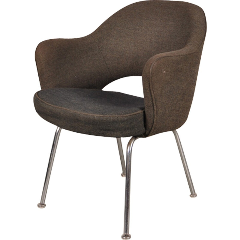 Vintage armchair in metal and grey fabric by Eero Saarinen - 1970s