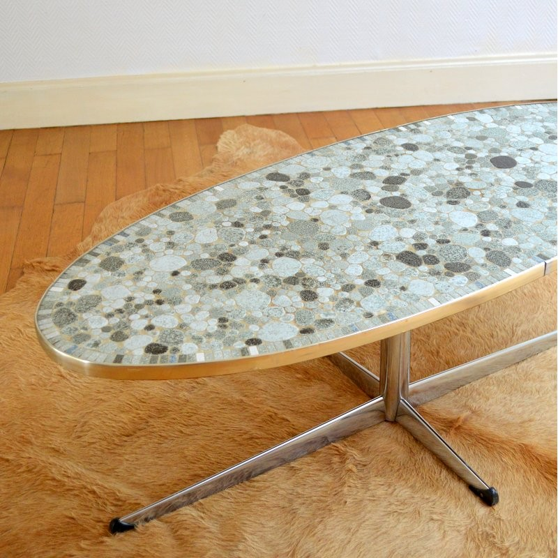 Mid Century Oval Coffee Table In Ceramics 1960s Design Market