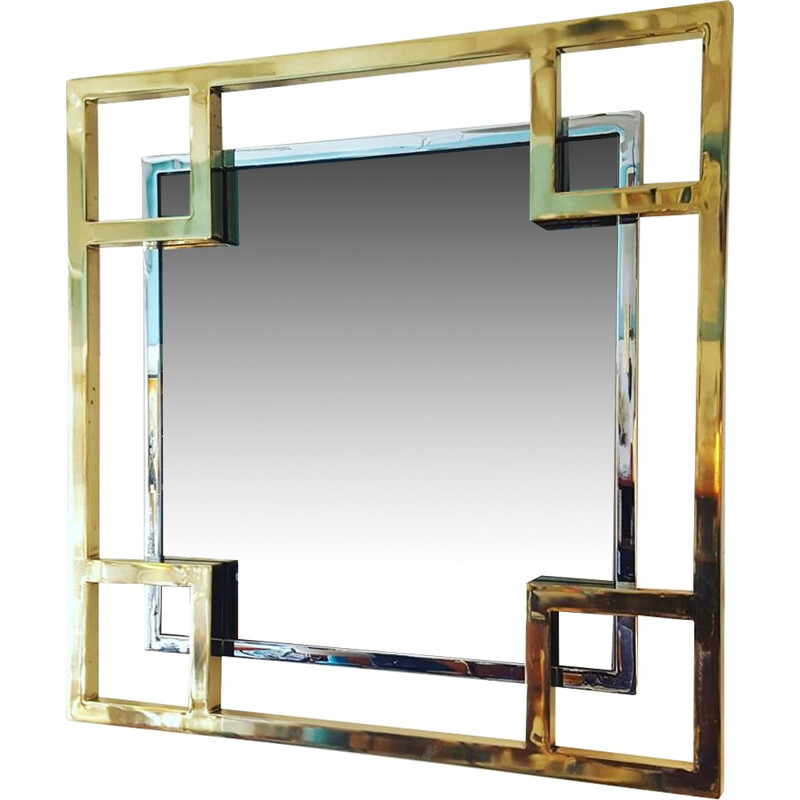 Mirror by Guy Lefevre for Jansen House with details made of chromed metal and brass - 1980s