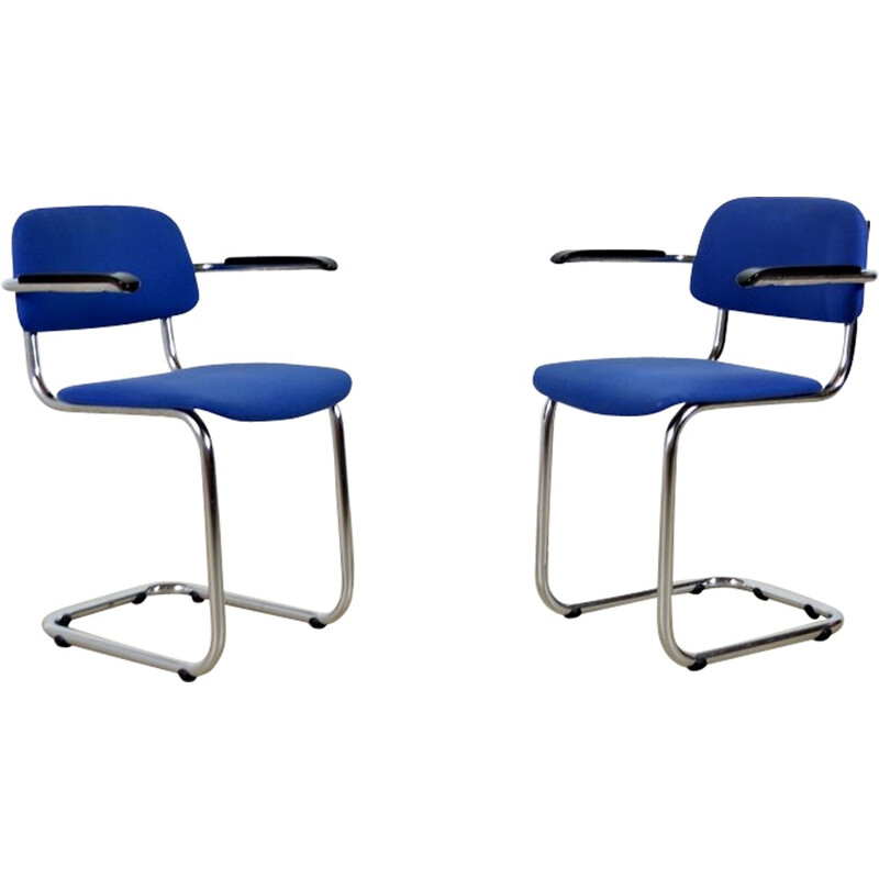 Mid-century bright blue Kembo chair by Gispen - 1950s