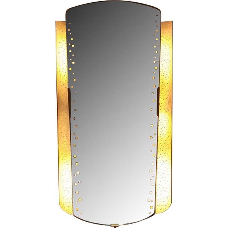 Large Illuminated Mirror in Perforated Sheet and Brass - 1950