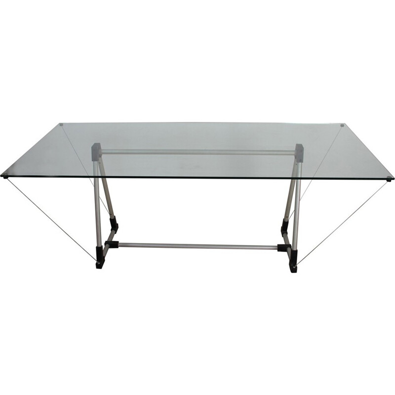 Vintage table in glass and aluminium by Fontana Arte - 1980s