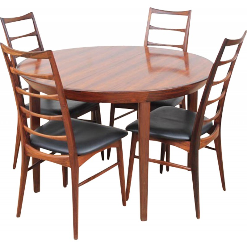 round scandinavian dining table made of rio rosewood with extensions for 6 10 people 1950s. Black Bedroom Furniture Sets. Home Design Ideas