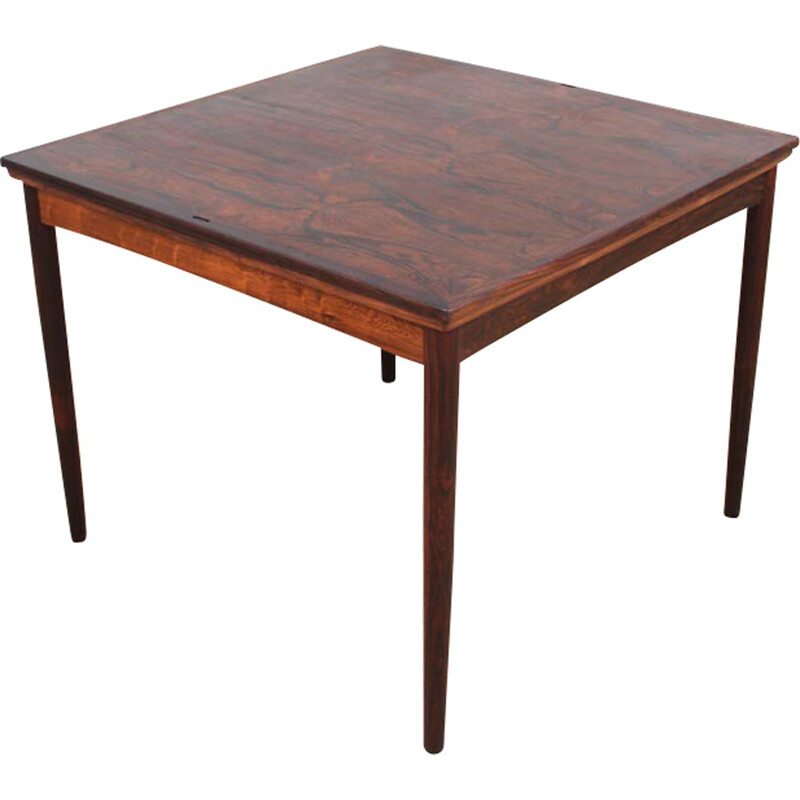 Vintage Scandinavian square table in rosewood with extensions and reversible tray - 1960s