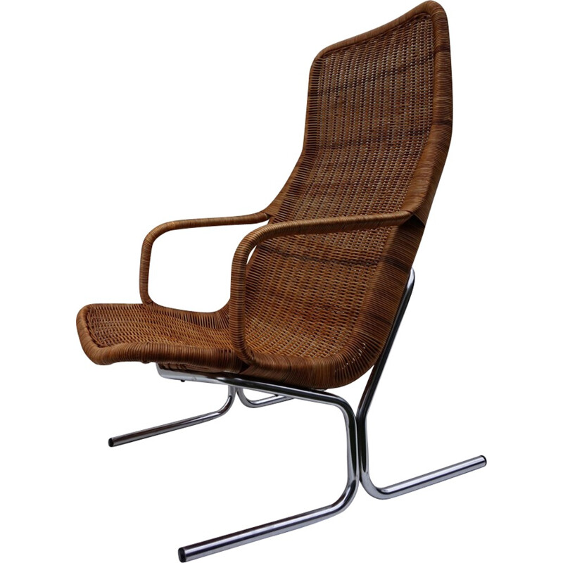Vintage Rattan Lounge Chair by Dirk van Sliedregt for Jonkers  - 1960s