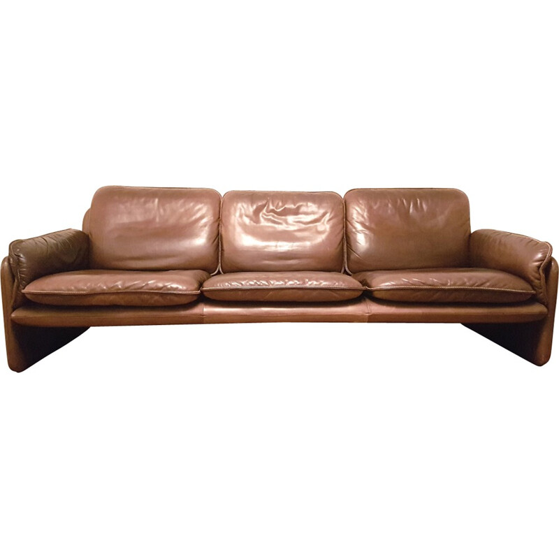 """Vintage """"DS61"""" 3-seater leather sofa produced by De Sede - 1960s"""